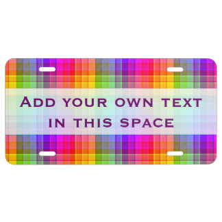 Rainbow Plaid Colorful Pattern | Add Name License Plate