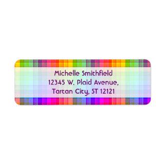 Rainbow Plaid Custom Return Address Label
