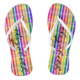Rainbow Plaid Flip Flops