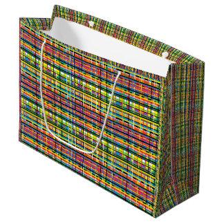 rainbow plaid gift bag