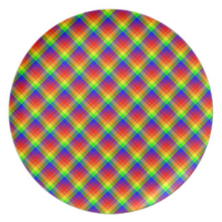 Rainbow Plaid Melamine Plate