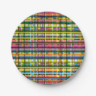 rainbow plaid paper plate 7 inch paper plate