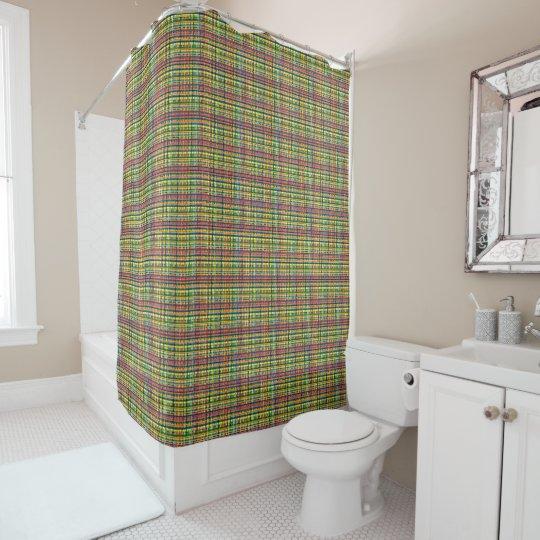 rainbow plaid shower curtain