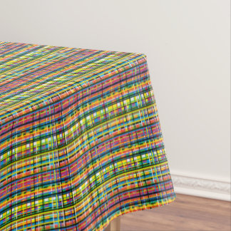 rainbow plaid tablecloth