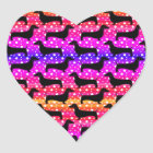 Rainbow Polka Dachshunds Heart Sticker