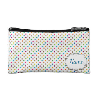 Rainbow Polka Dot Personalized Cosmetic Bag
