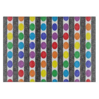 Rainbow Polka Dot Strips Cutting Board