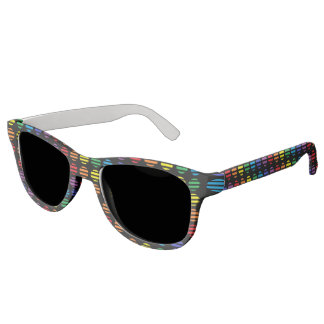 Rainbow Polka Dots and Stripes Black Sunglasses