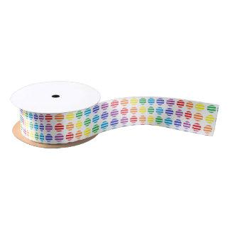 Rainbow Polka Dots and Stripes Satin Ribbon
