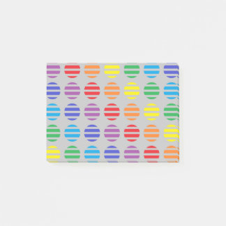Rainbow Polka Dots and Stripes Silver Post-it® Notes