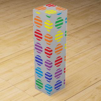 Rainbow Polka Dots and Stripes Silver Wine Box