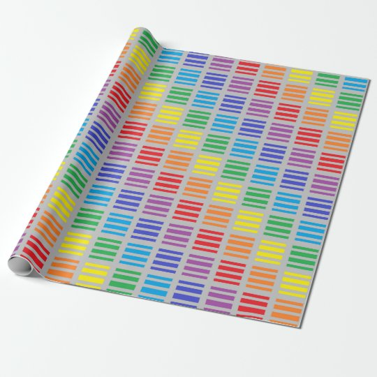 Rainbow Polka Dots and Stripes Silver Wrapping Paper