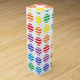 Rainbow Polka Dots and Stripes Wine Box