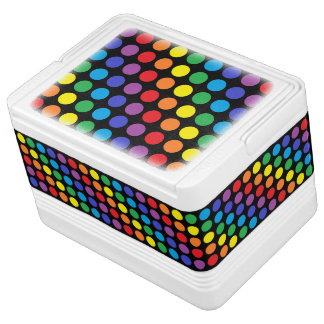Rainbow Polka Dots Black