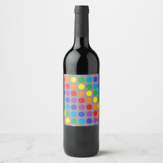 Rainbow Polka Dots Charcoal Wine Label