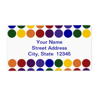 Rainbow Polka Dots on White shipping label
