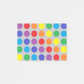 Rainbow Polka Dots Silver Post-it® Notes