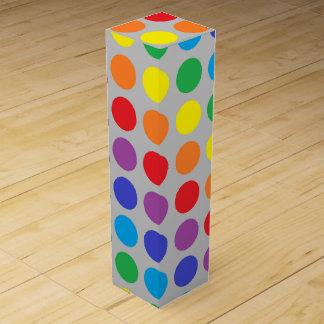 Rainbow Polka Dots Silver Wine Box