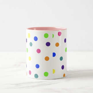 Rainbow Polka Dots Two-Tone Mug