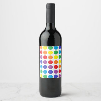 Rainbow Polka Dots Wine Label