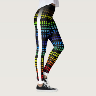 Rainbow Polkadot on Black Choose Your own Color Leggings