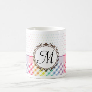 Rainbow Polkadots Checks and Stripes with Monogram Coffee Mug