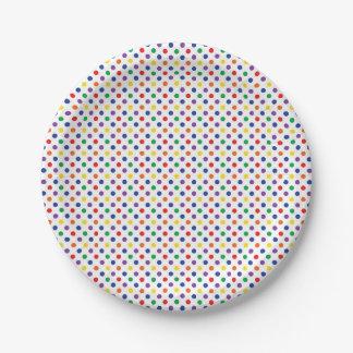 Rainbow Polkadots Paper Plate