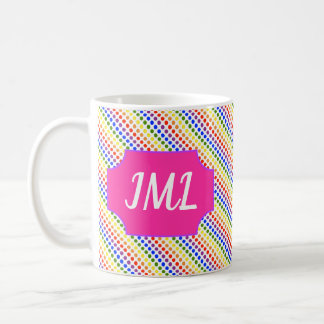 Rainbow Polkadots, with Name Plate Coffee Mug
