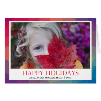 Rainbow Polygonal Geometric PHOTO HAPPY HOLIDAYS Card