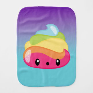Rainbow Poop Emoji Burp Cloth