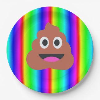 rainbow poop emoji paper plate