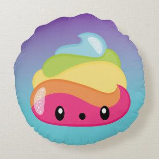 Rainbow Poop Emoji Round Pillow