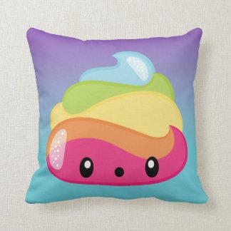 Rainbow Poop Emoji Throw Pillow