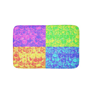 Rainbow pop art bubble wrap bath mat