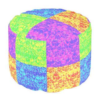 Rainbow pop art bubble wrap pouf
