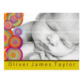 Rainbow Pop Circles Photo Birth Announce Postcard
