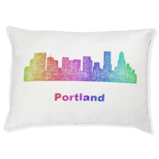 Rainbow Portland skyline Large Dog Bed
