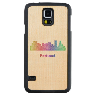 Rainbow Portland skyline Maple Galaxy S5 Slim Case