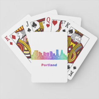 Rainbow Portland skyline Poker Deck