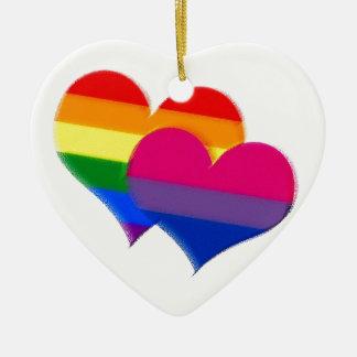 Rainbow pride bi pride hearts ceramic ornament