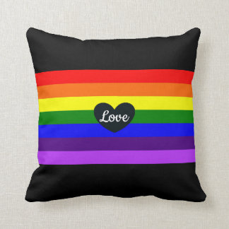Rainbow Pride Black Heart Love Throw Pillow