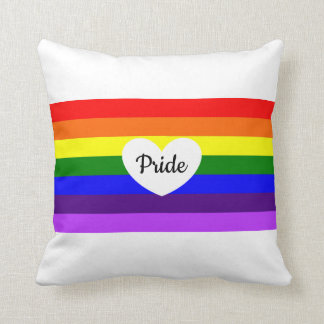 Rainbow Pride Black Heart Pride Throw Pillow