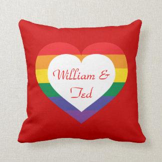 Rainbow pride heart throw pillow