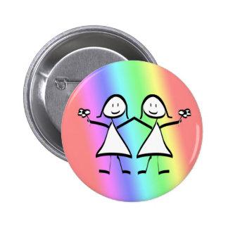 Rainbow Pride Lesbian Brides 2 Inch Round Button