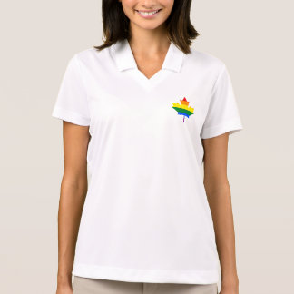 Rainbow pride maple leaf Polo Shirt