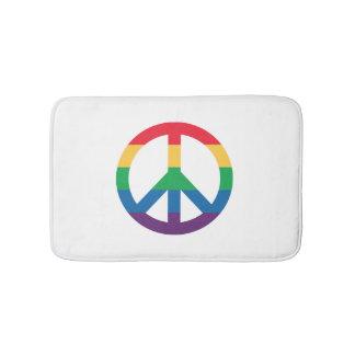 Rainbow Pride Peace Sign Bath Mat