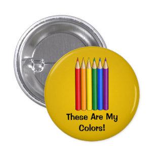 Rainbow pride pencils Button