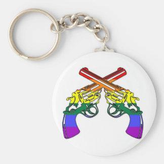 Rainbow Pride Pistols Basic Round Button Keychain