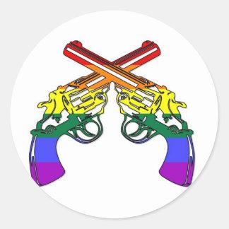 Rainbow Pride Pistols Round Stickers