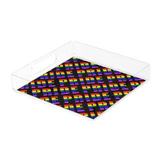 Rainbow Pride Text Art on Custom Black Color Acrylic Tray